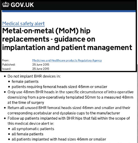 Fig.1. Medical Healthcare Products Regulatory Agency (MHRA) issued a medical device alert (MDA-2015/024, 25th June 2015) identifying higher risks with BHR sizes 46-48 mm