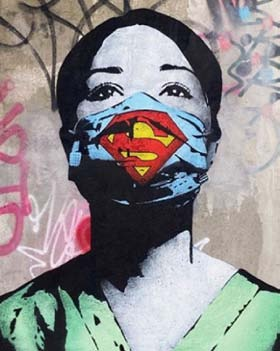 Street Art by FAKE; Amsterdam, Netherlands. Nurse with a mask with a Superman logo.